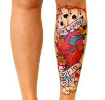 Stop and Stare Tattoo Tights with  Hearts and Cards